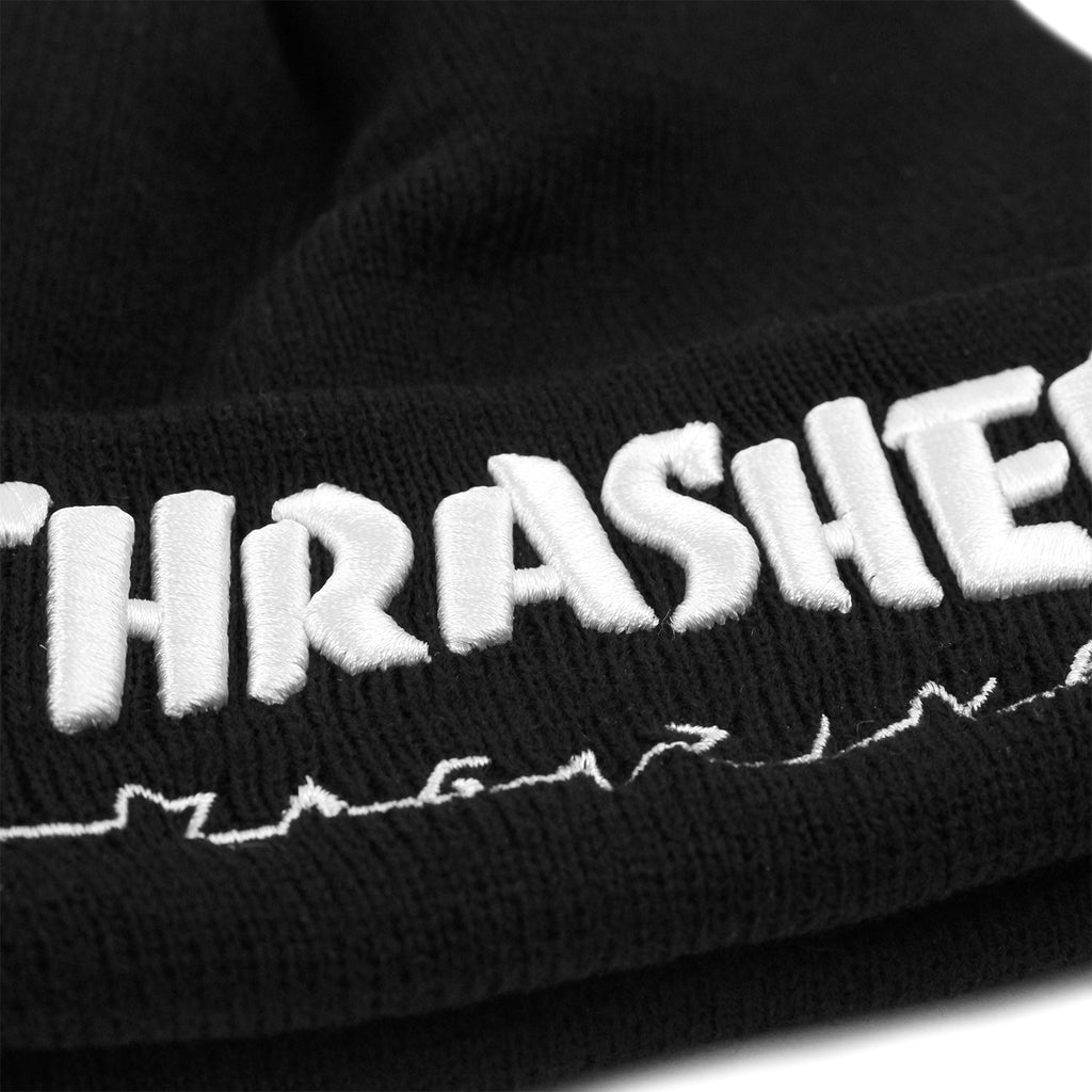 Thrasher Embroidered Logo Beanie in Black / White - Embroidery