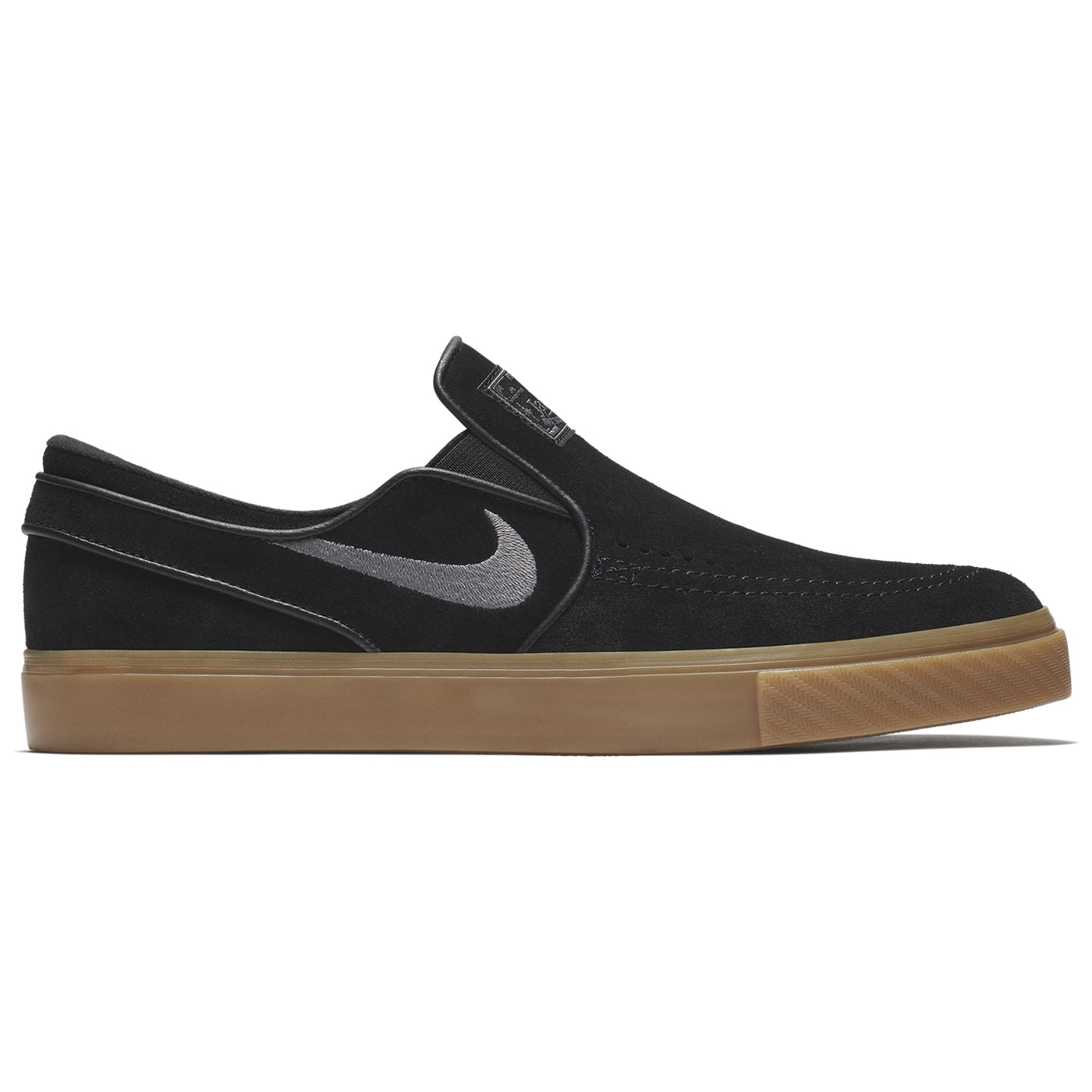 ab0a8e8c61ad Nike SB Zoom Stefan Janoski Slip Shoes - Black   Gunsmoke - Gum Light Brown
