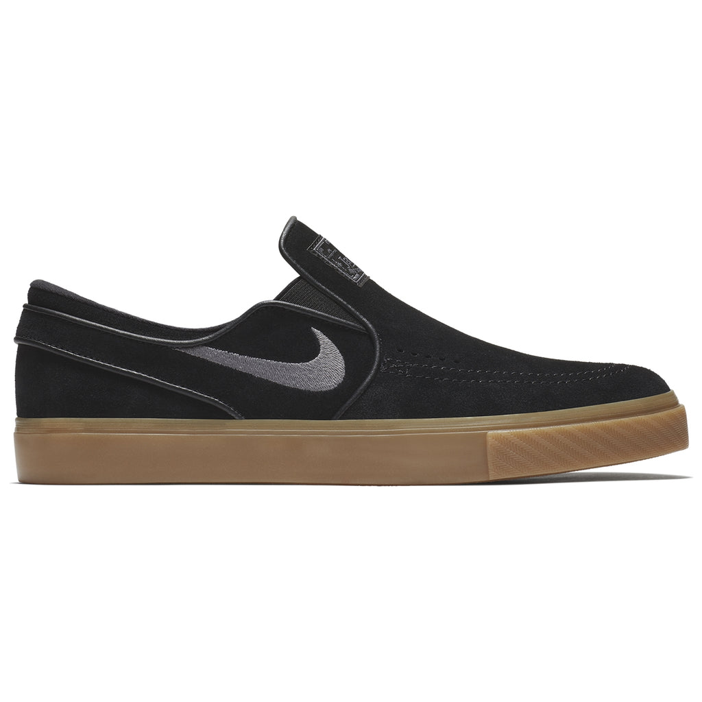 Nike SB Zoom Stefan Janoski Slip Shoes in Black / Gunsmoke - Gum Light Brown