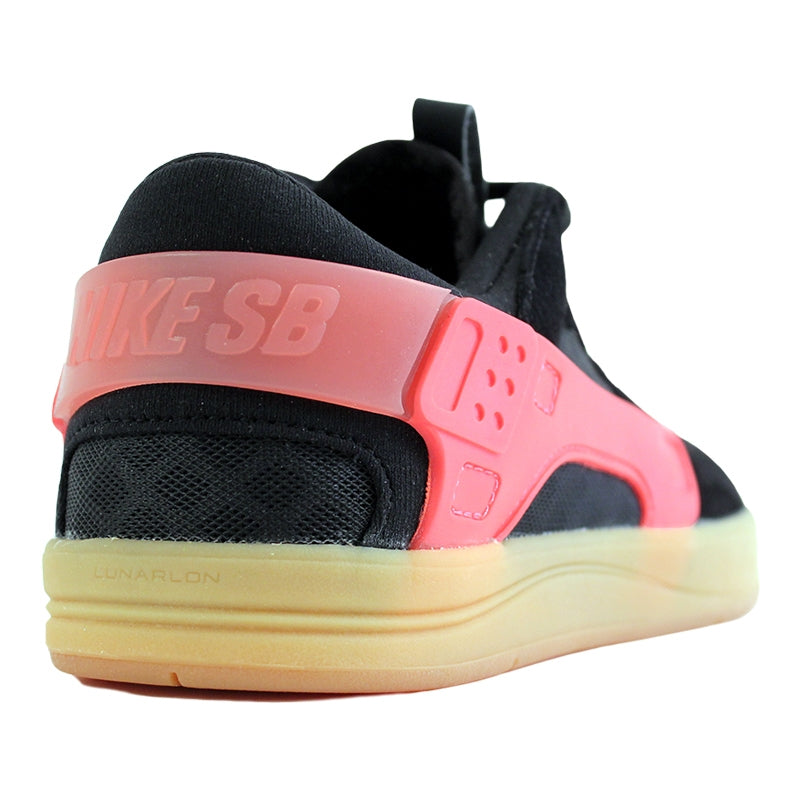 Nike SB Eric Koston Huarache Shoes in Black / Hot Lava / Gum Light Brown - Heel