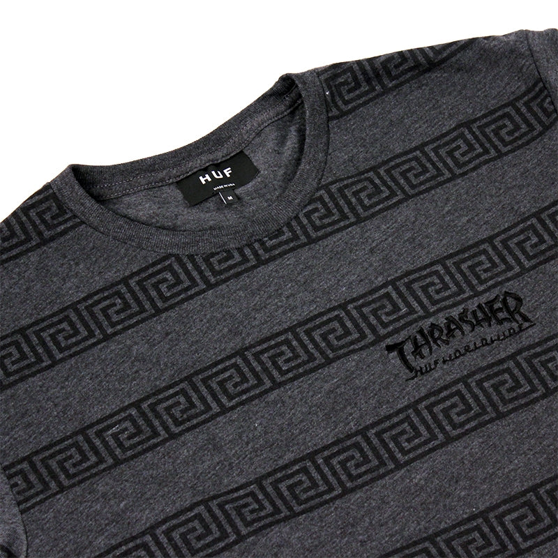 HUF x Thrasher Asia Tour Throwback T Shirt in Heather Charcoal - Detail