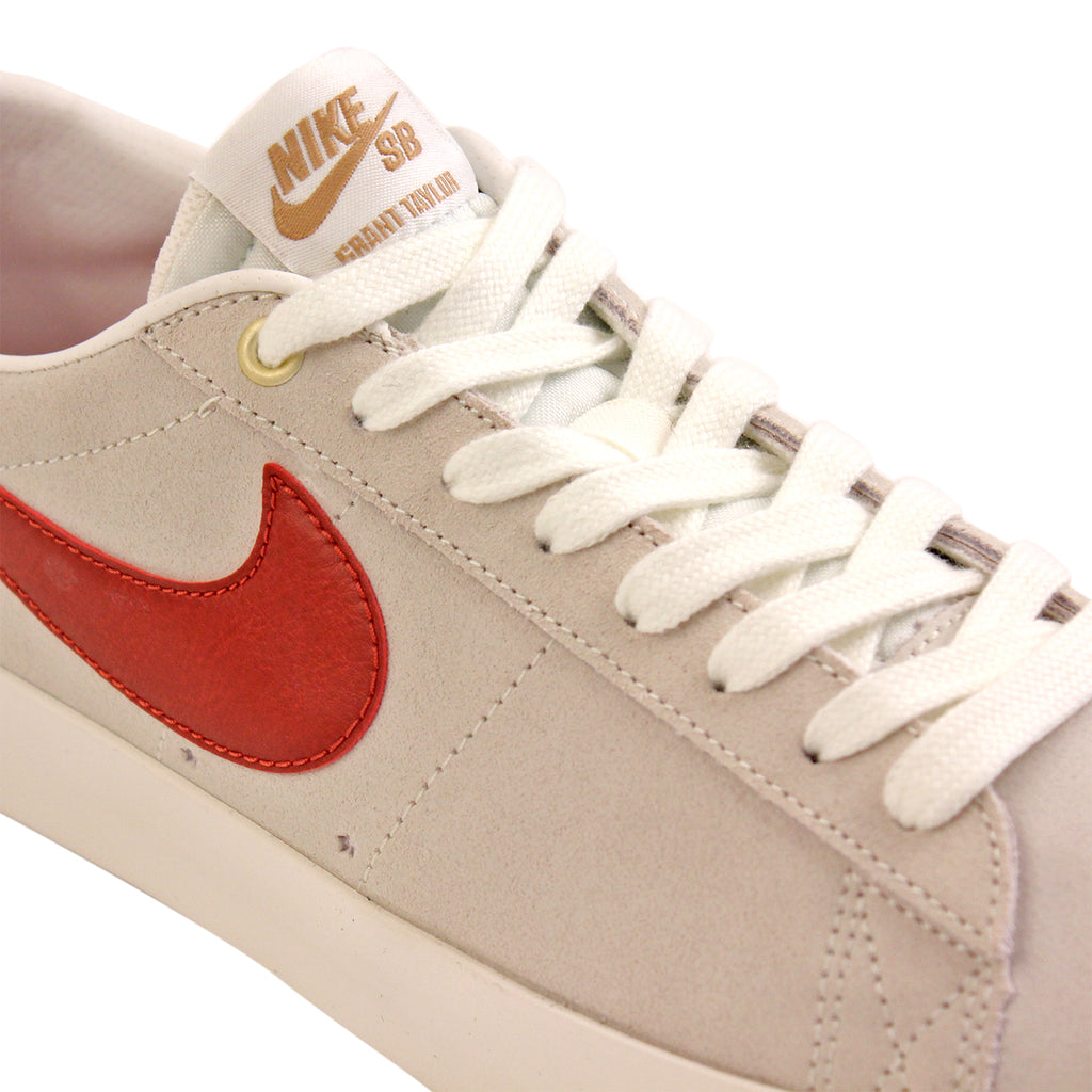 Nike SB Blazer Low Grant Taylor Shoes in Ivory / Cinnabar - Laces