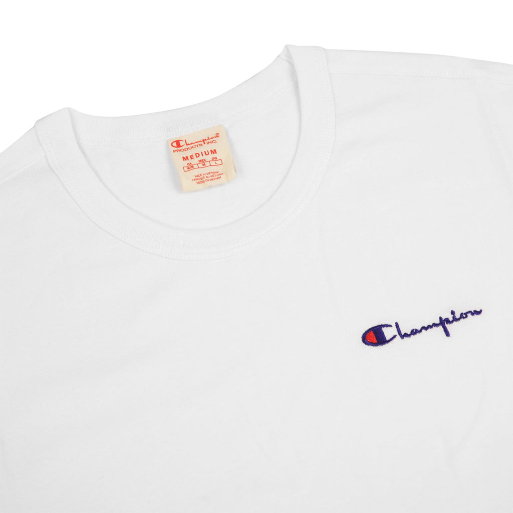Champion Reverse Weave Small Script Logo T Shirt in White - Detail