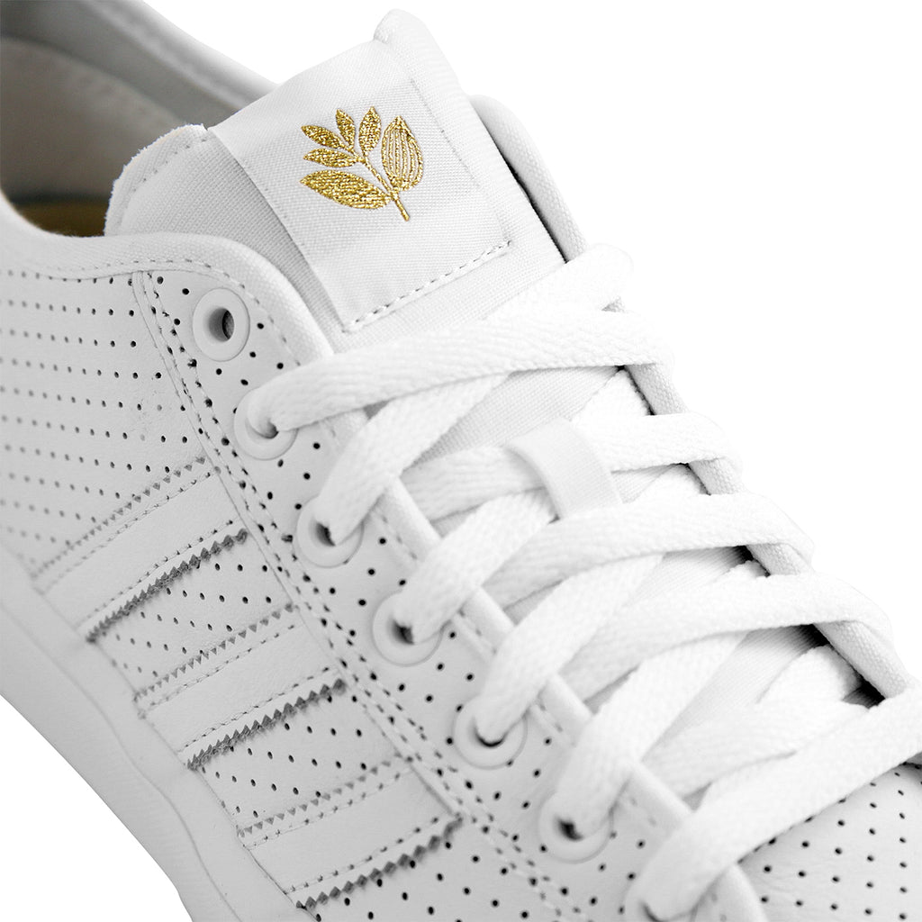 Adidas x Magenta Skateboards Matchcourt RX Shoes in White / Gold Metallic / Gum - Laces