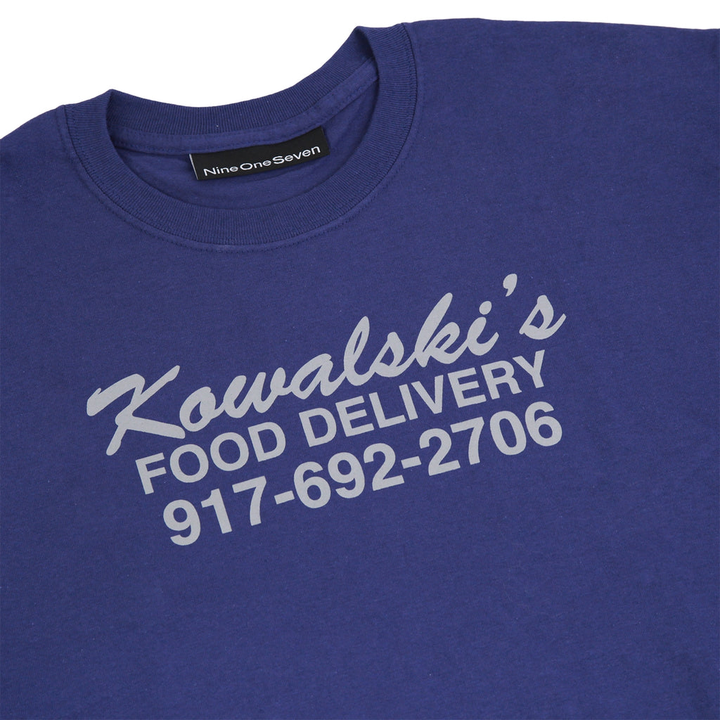 Call Me 917 Food Delivery T Shirt in Navy - Front Print