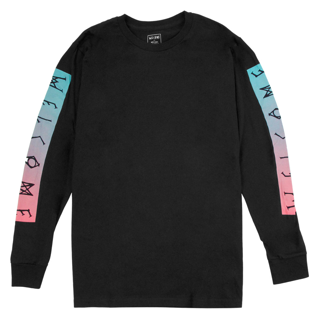 Welcome Skateboards Scrawl Bar L/S T Shirt in Black / Teal / Pink