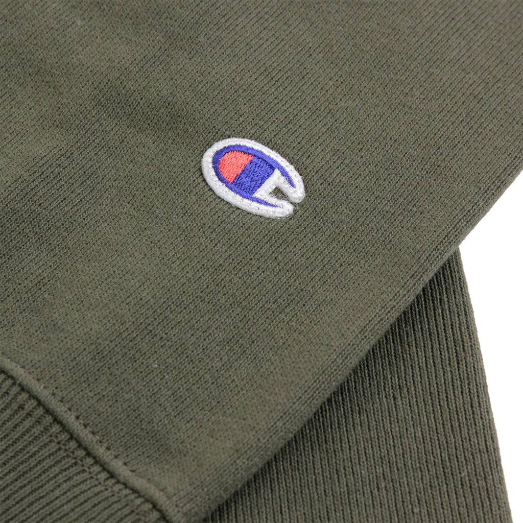 Champion Reverse Weave Crew Neck Sweatshirt in Olive - Patch