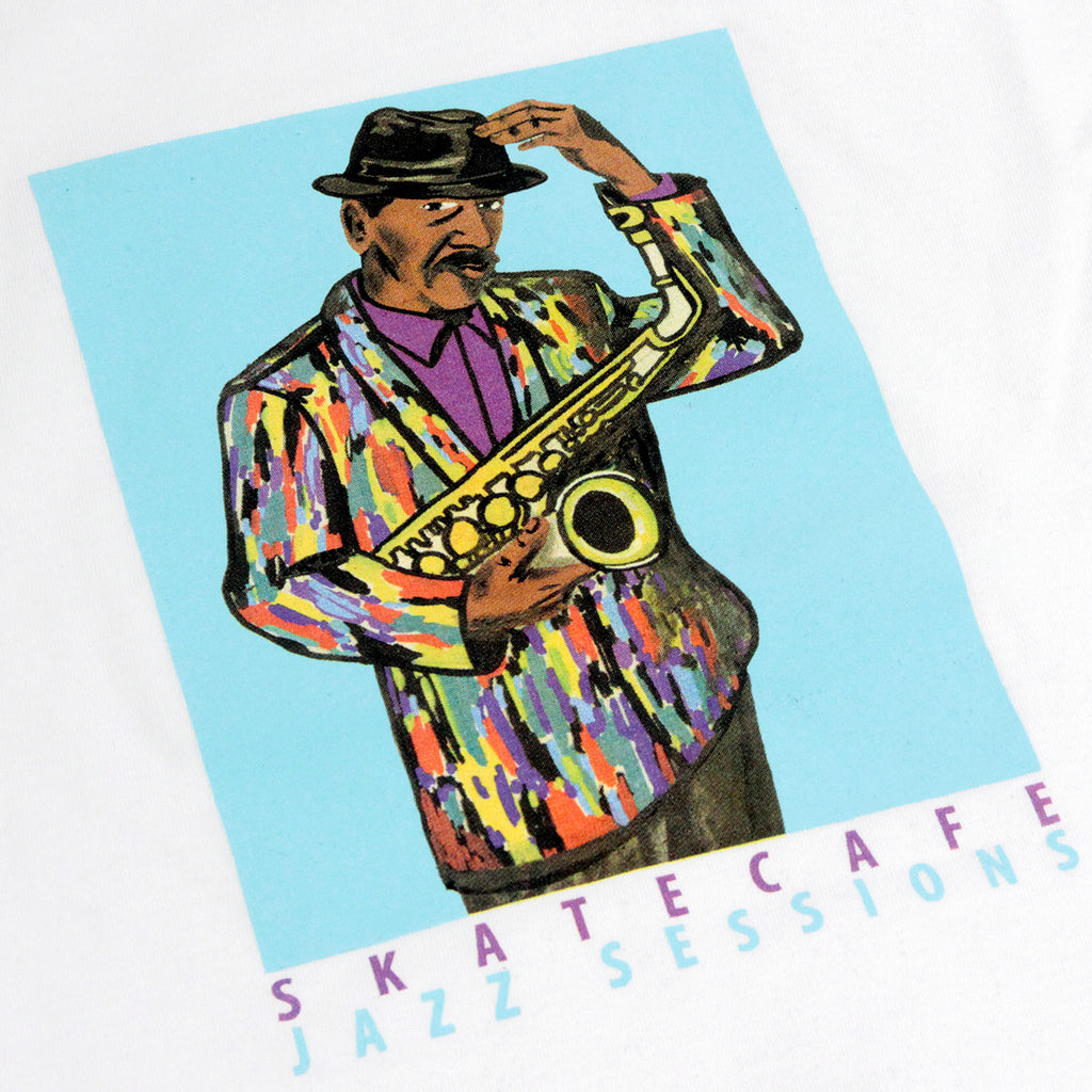 Skateboard Cafe Ornette Jacket L/S T Shirt in White - Print