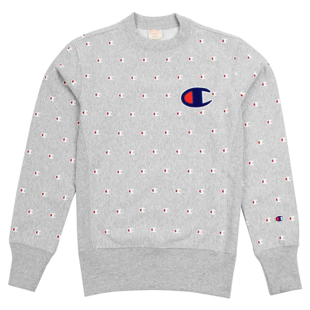 Champion All Over Crew Sweatshirt in Oxford Grey