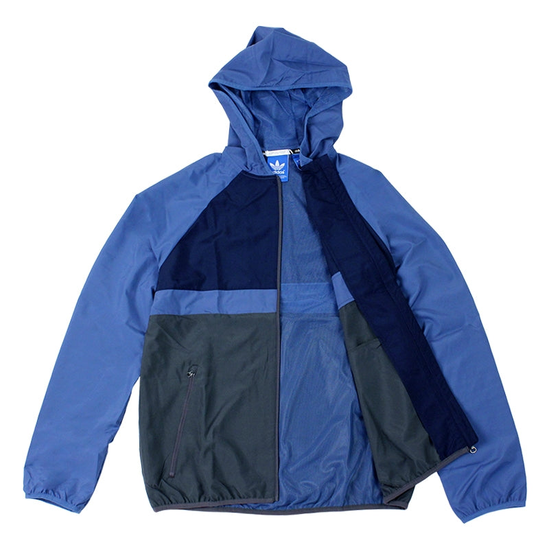 Adidas Skateboarding ADV Wind Jacket in Ash Blue/Collegiate Navy - Open