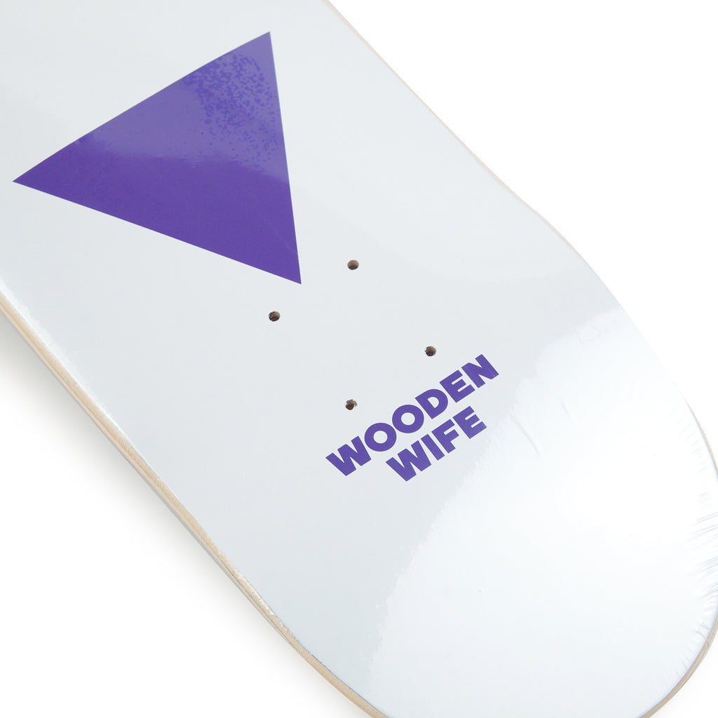 Wooden Wife Skateboards Logo Skateboard Deck in White - Logo detail