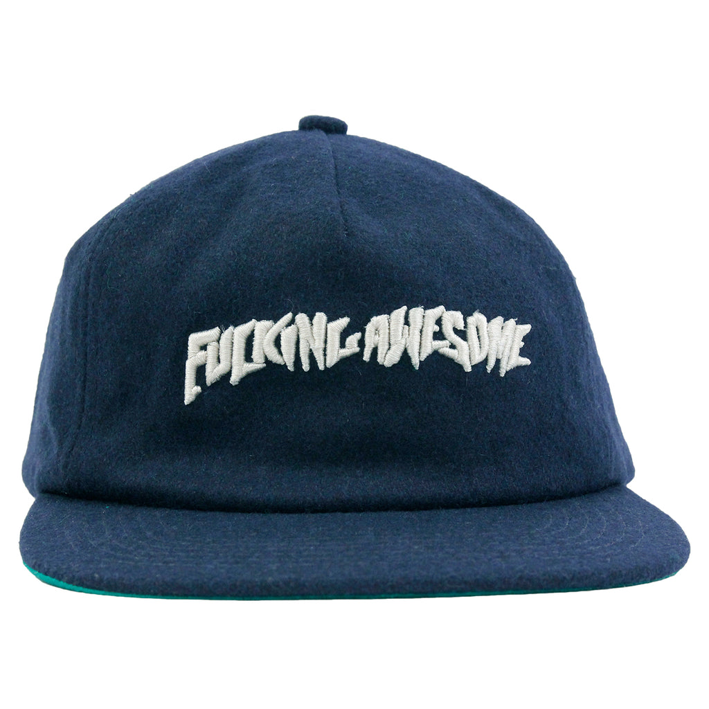 Fucking Awesome Classic Logo Wool Snapback in Navy - Front