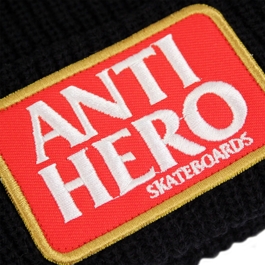 Anti Hero Skateboards Reserve Patch Beanie in Black - Patch