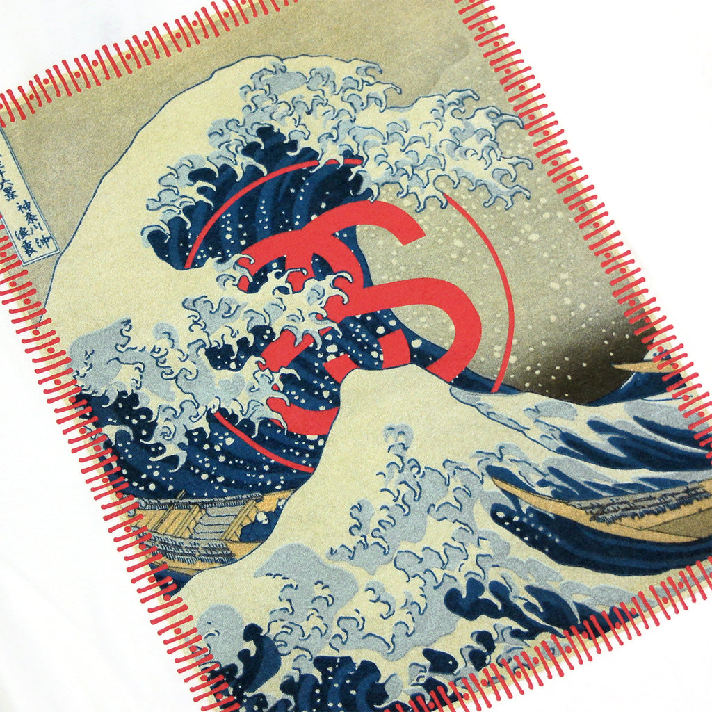 Stussy Tsunami T Shirt in White - Print