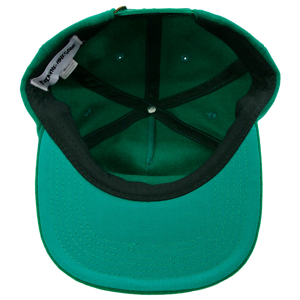 Fucking Awesome Classic Logo Wool Snapback in Green - Inside