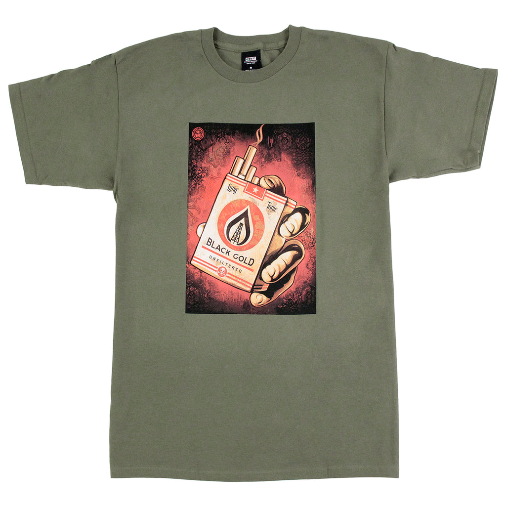 Obey Clothing Black Gold T Shirt in Military Olive