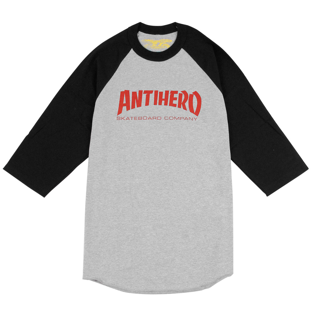 Anti Hero Skateboards Skate Co 3/4 Raglan T Shirt in Black / Athletic Heather