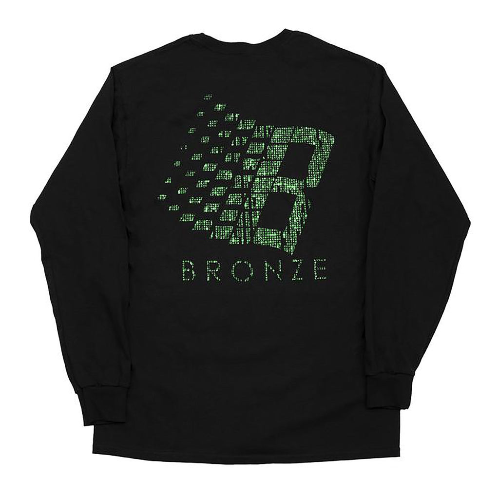 Bronze 56k B Logo L/S T Shirt in Black / Binary Code - Back