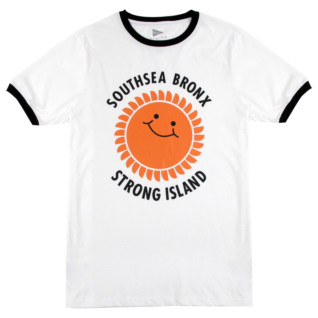 Southsea Bronx Strong Island OG Ringer T Shirt in White / Orange / Black