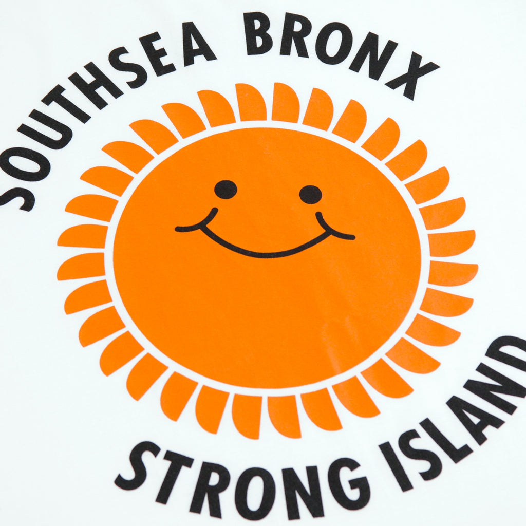 Southsea Bronx Strong Island OG Ringer T Shirt in White / Orange / Black - Print