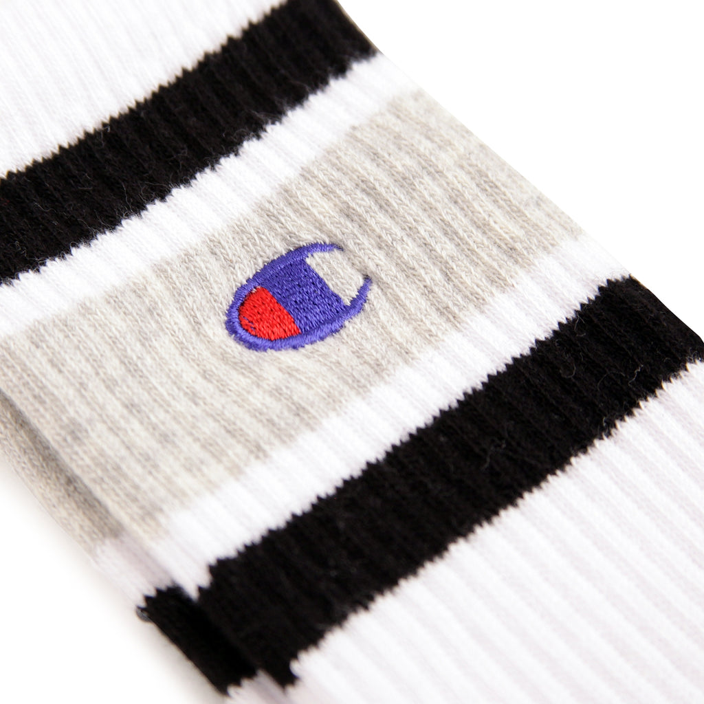 Champion Reverse Weave Athletic Socks in White / Oxford Grey / Black - Embroidery