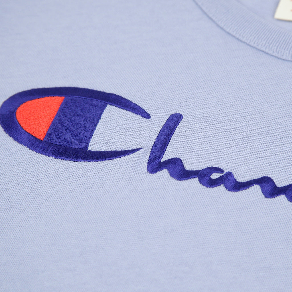 Champion Reverse Weave Script Logo T Shirt in Lilac - Embroidery