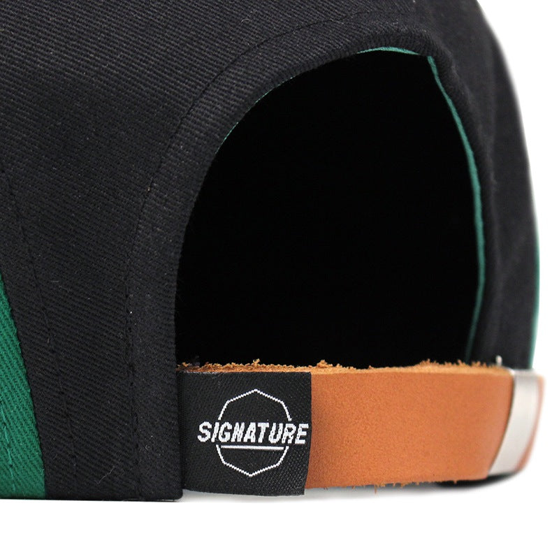 Signature Clothing Primitus 5 Panel Cap in Black / Strong Green - Back strap