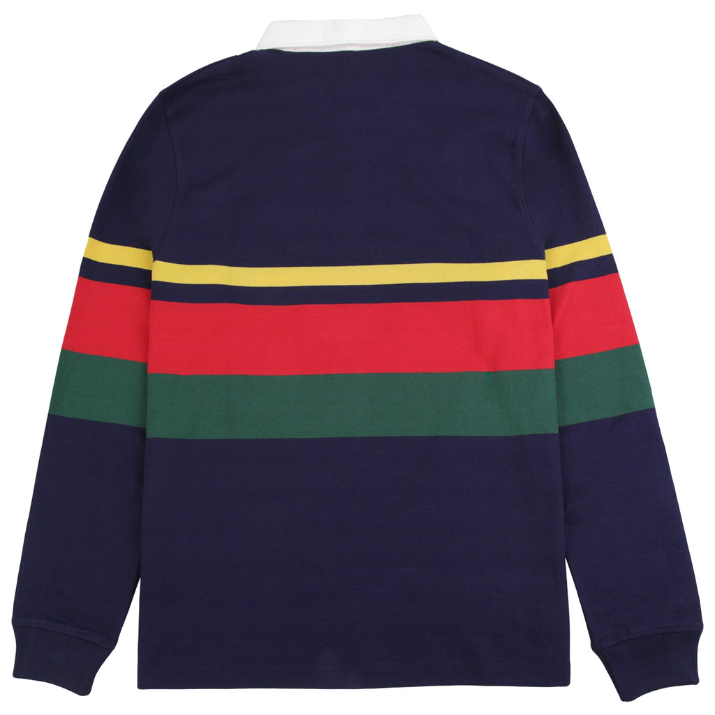 Stussy Lucas Stripe L/S Rugby Shirt in Navy - Back