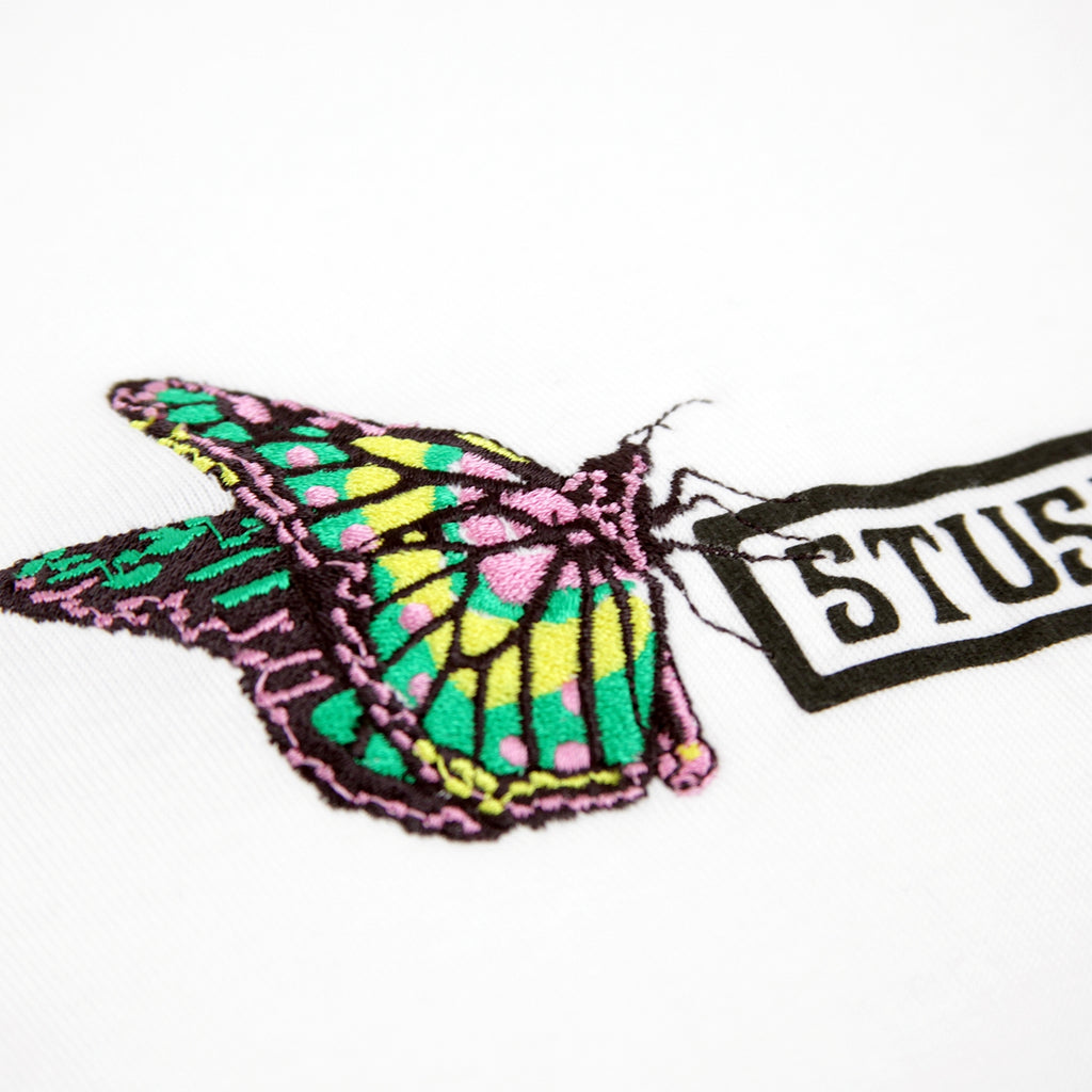 Stussy Butterfly T Shirt in White - Embroidery