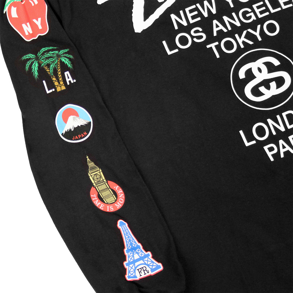 Stussy WT Flags L/S T Shirt in Black - Sleeve prints