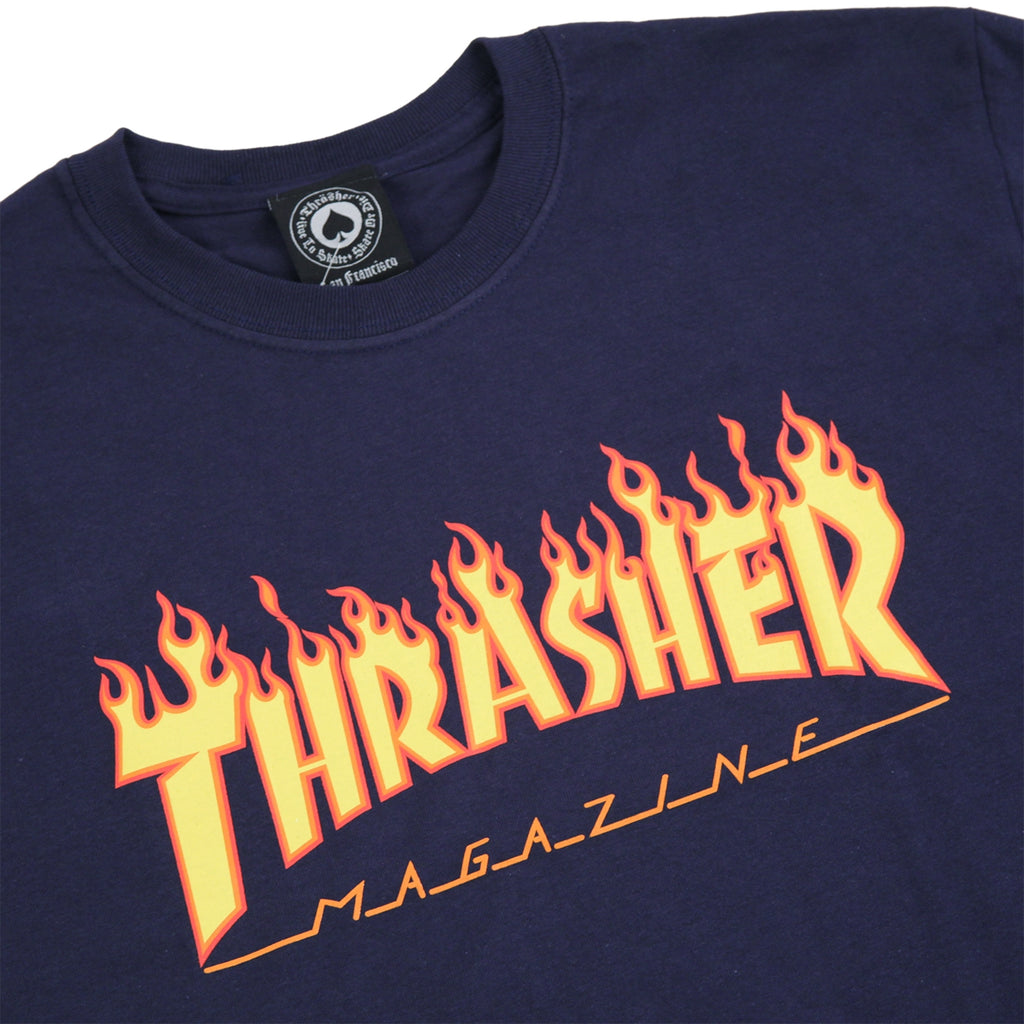 d0c24483349 Flame Logo T Shirt in Navy by Thrasher Magazine