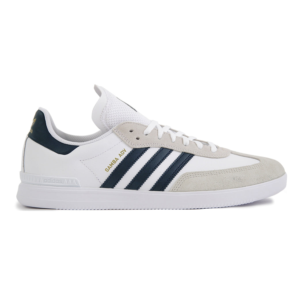 Adidas Skateboarding Samba ADV Shoes in Footwear White / Collegiate Navy / Gold Metallic
