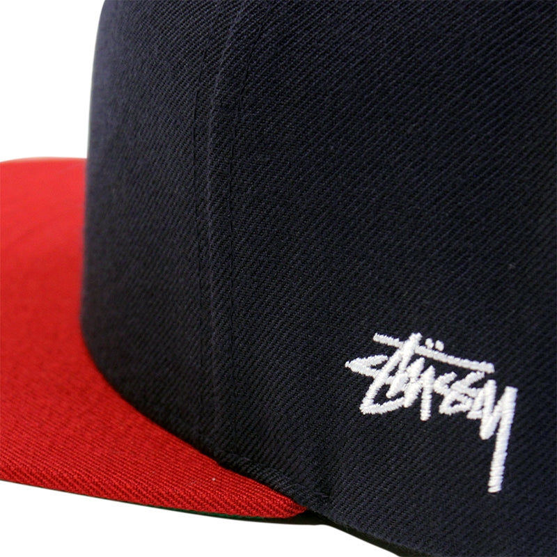 88d52baed58 Stussy Mesh Big S Snapback Cap in Navy - Side embroidery