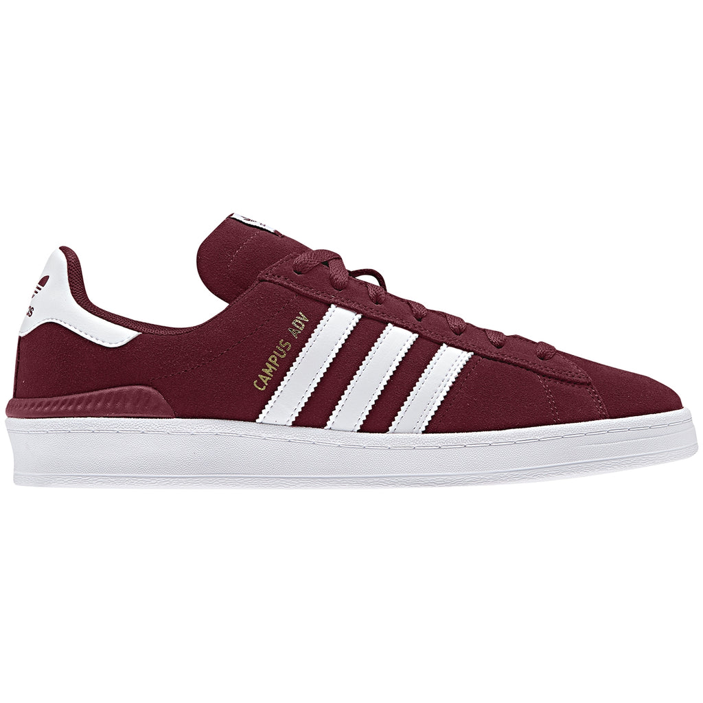 Adidas Campus ADV Shoes in Collegiate Burgundy / Footwear White / Footwear White