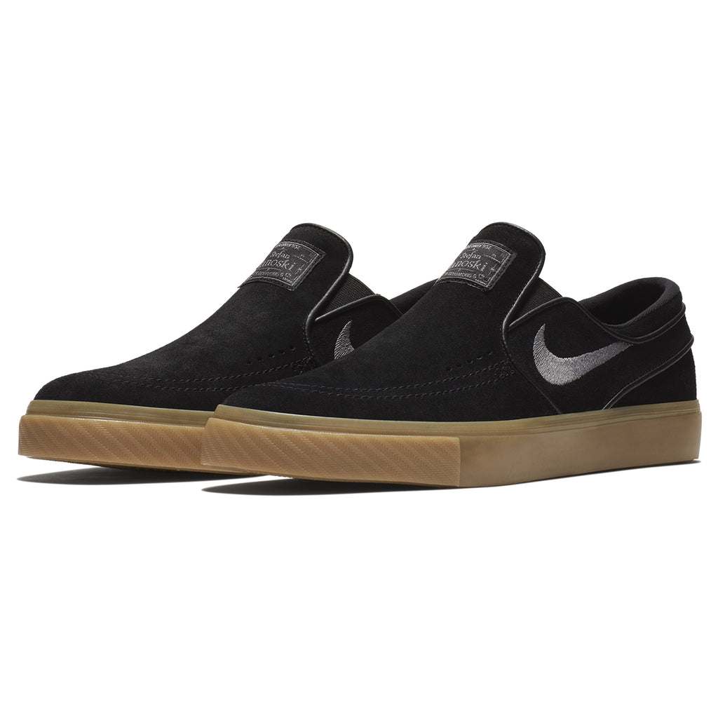 Nike SB Zoom Stefan Janoski Slip Shoes in Black / Gunsmoke - Gum Light Brown - Pair