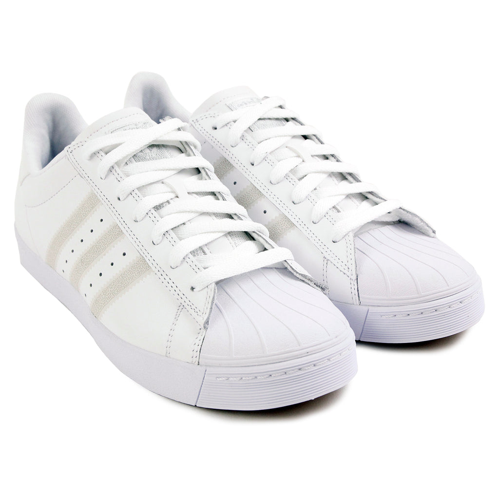 Adidas Skateboarding Superstar Vulc Shoes - White / White / Silver Metallic - Pair