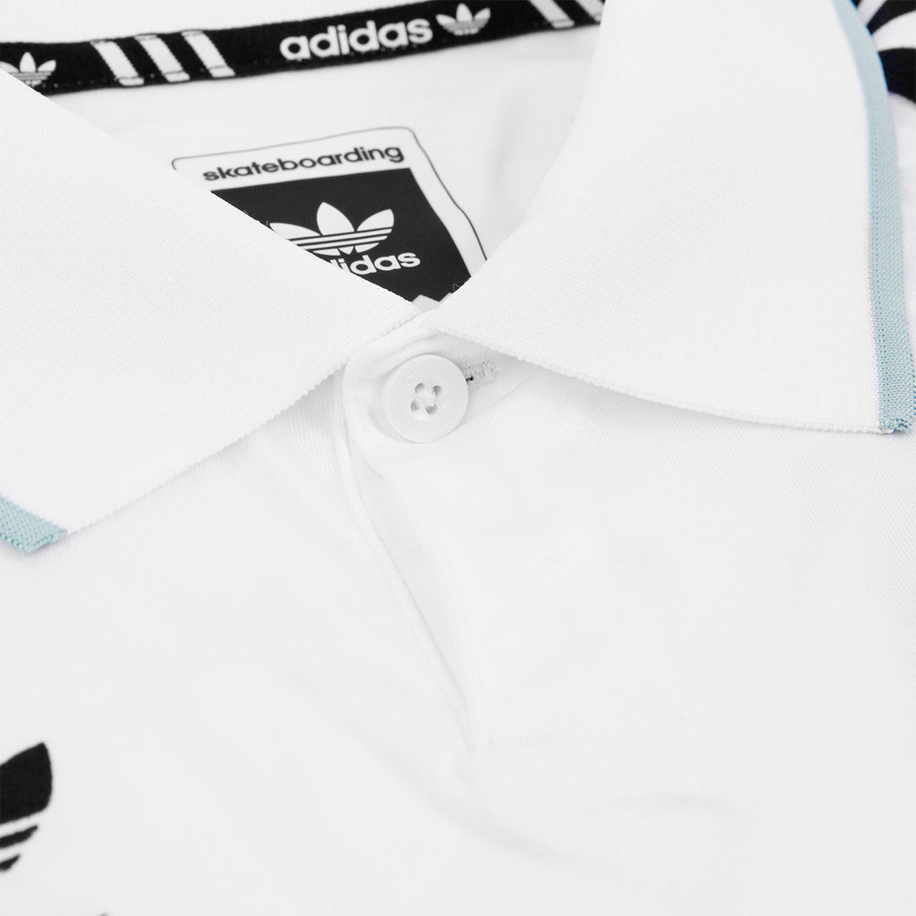 Welcome Skateboards x Adidas Skateboarding Jersey in White - Collar