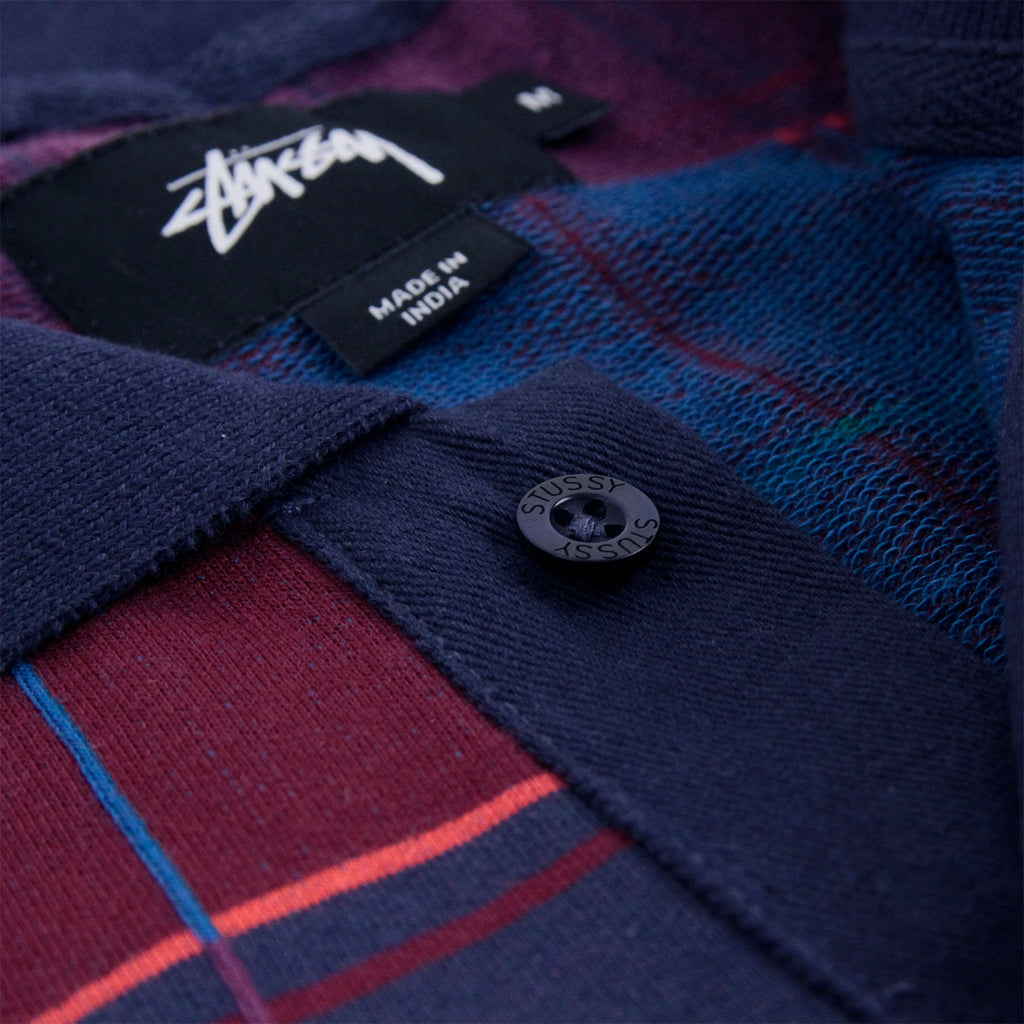 Stussy Plaid L/S Polo in Navy - Plackett