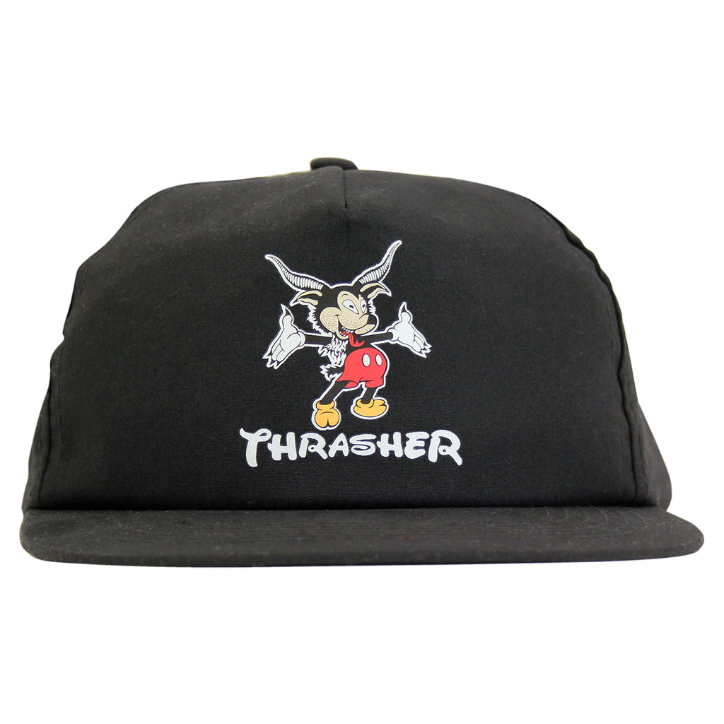 Thrasher Mousegoat Snapback Cap in Black - Front