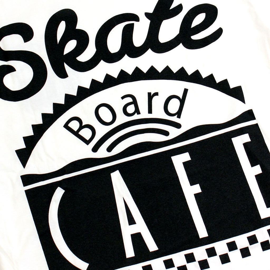 Skateboard Cafe Diner T Shirt in White - Print
