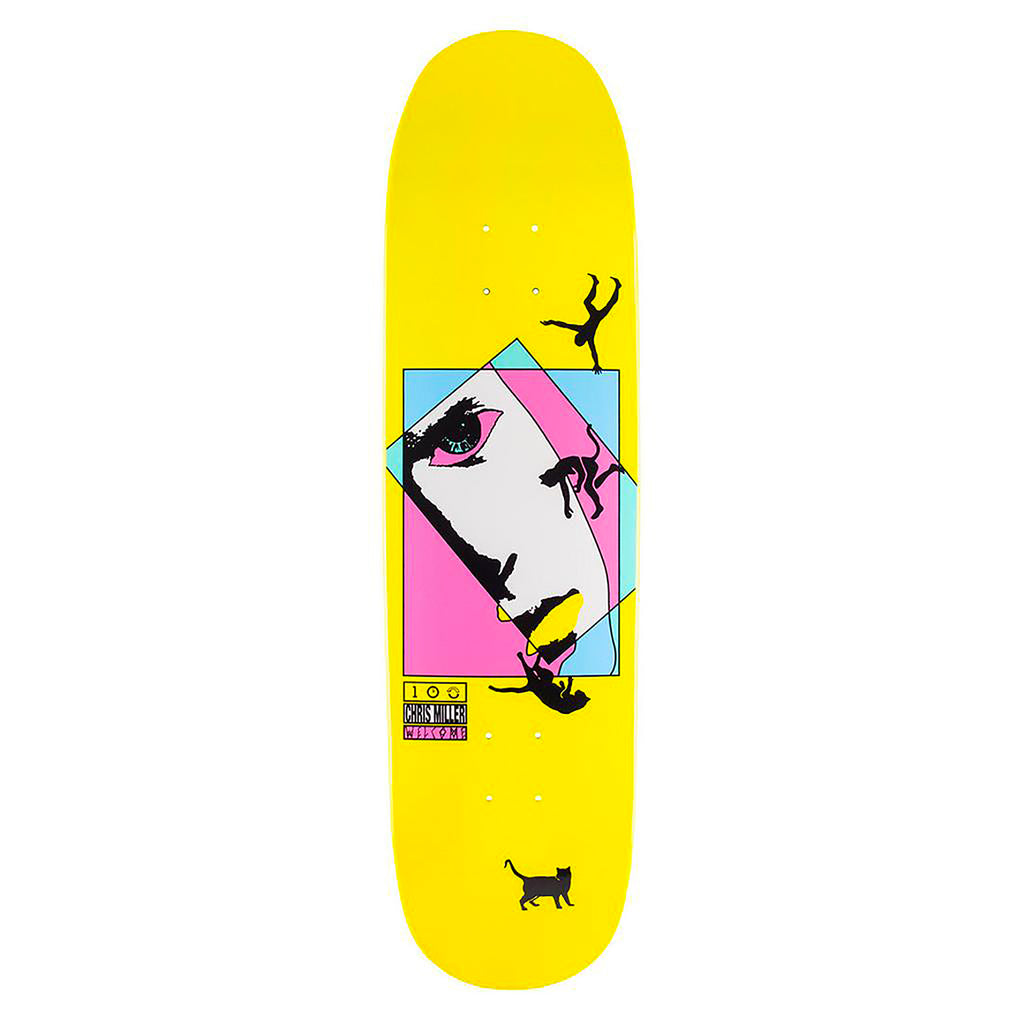 Welcome Skateboards Miller Faces On Catblood (Yellow) Deck in 8.5""