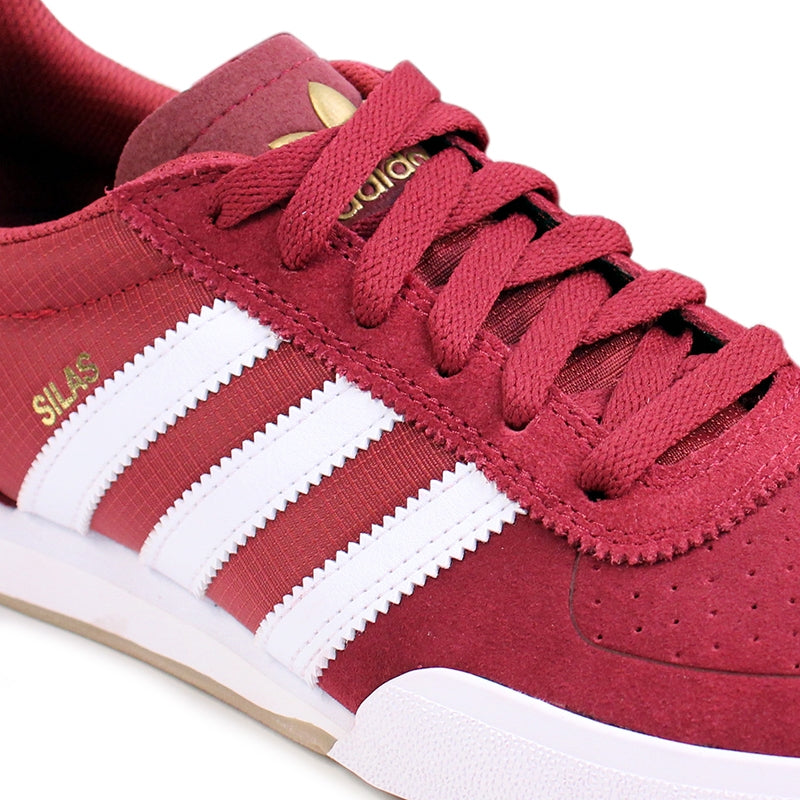 Adidas Skateboarding Silas SLR Shoes in St Nomad Red/Running White/Metalic Gold - Detail