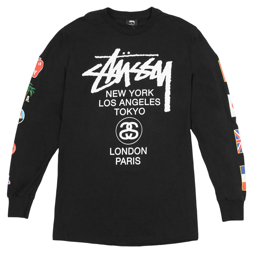 Stussy WT Flags L/S T Shirt in Black