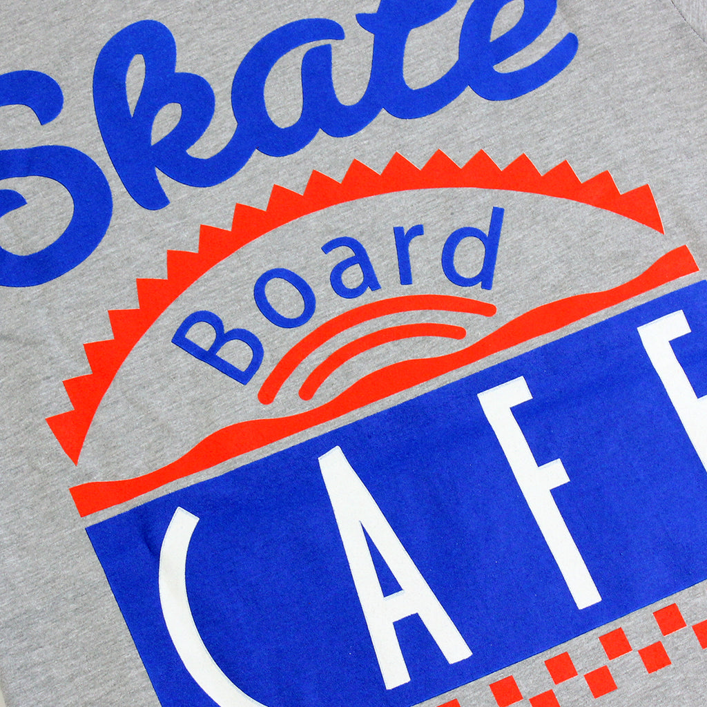 Skateboard Cafe Diner T Shirt in Heather Grey - Print