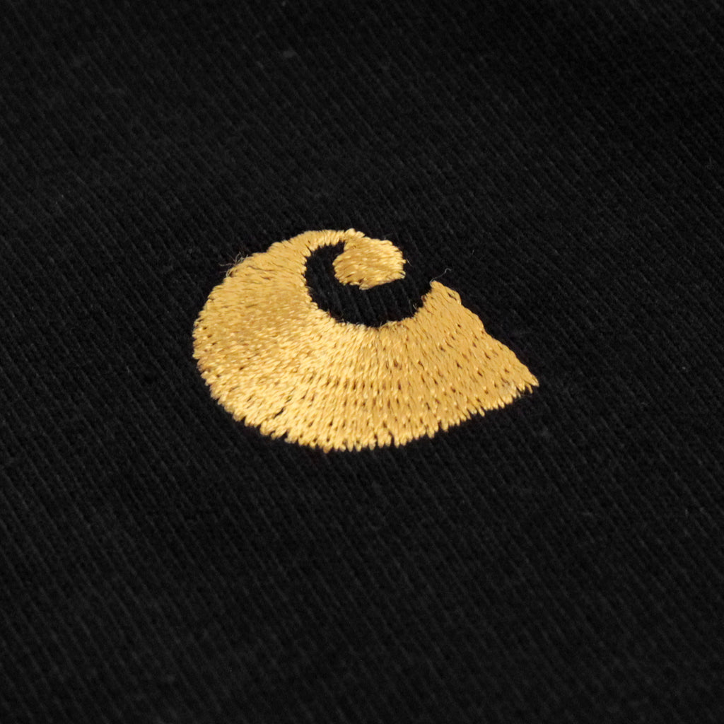 Carhartt S/S Chase T Shirt in Black / Gold - Embroidery