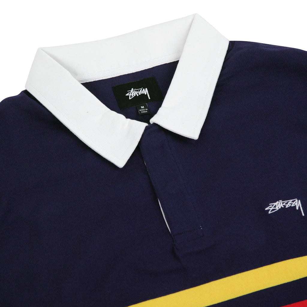 Stussy Lucas Stripe L/S Rugby Shirt in Navy - Detail