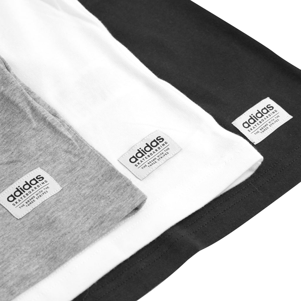 Adidas Skateboarding 3 Pack T Shirts in Black / White / Heather Grey - Detail