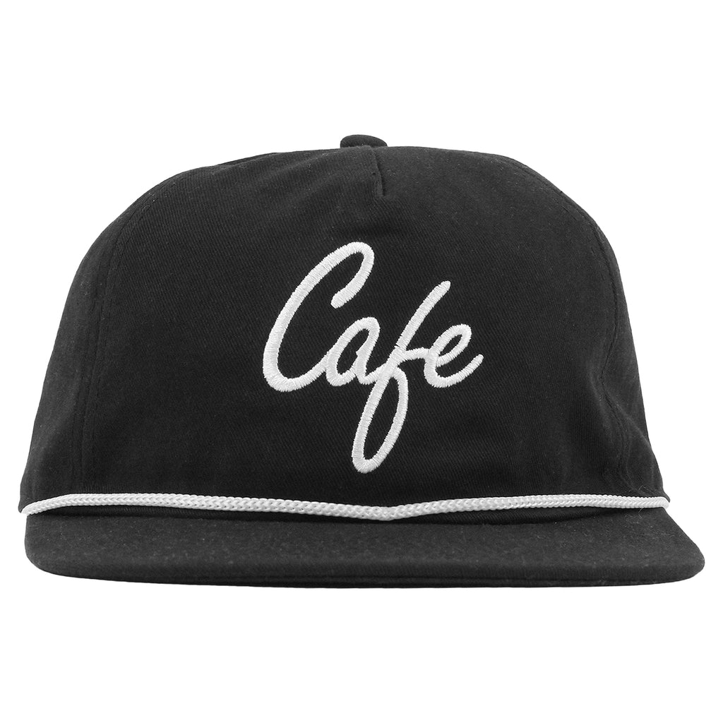 Skateboard Cafe Script Lace Snapback Cap in Black / White - Front