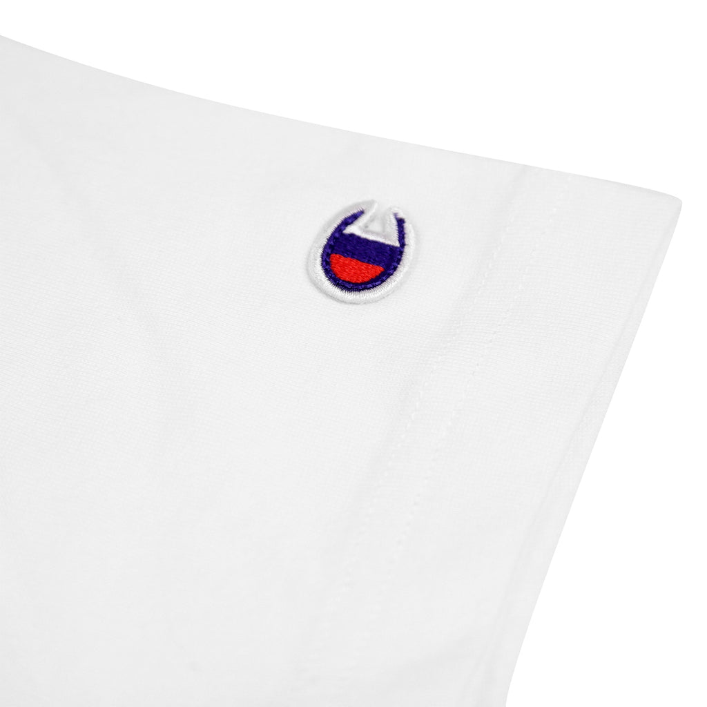 Champion Reverse Weave Small Script Logo T Shirt in White - Patch