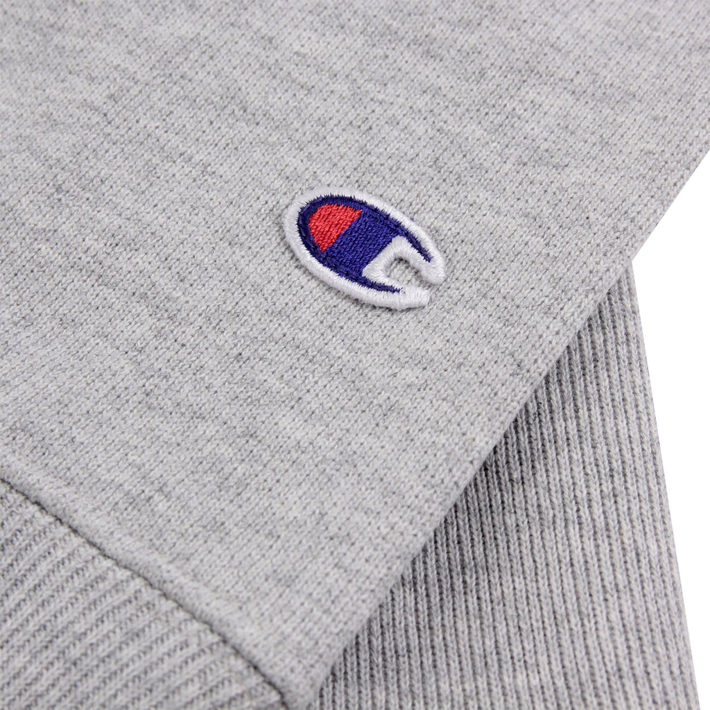 Champion 3 Panel Crew Neck Sweatshirt in Oxford Grey / White / Navy - Patch